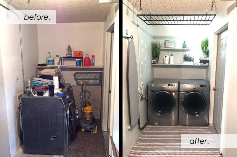 Spruce Up A Gloomy Dark Garage Laundry Space Photos From Before