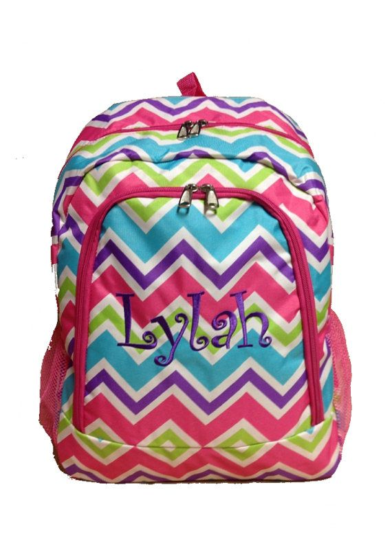 2eba0a73d3eb Personalized Multi Color Chevron Backpack Girls Booksack Multi Color with  Pink Trim Zig Zag Full Size School Backpack Monogrammed FREE