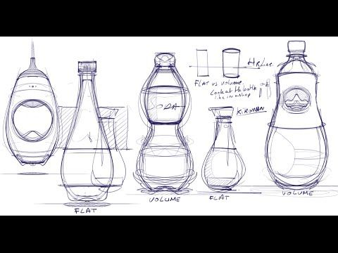 How to draw Bottles with Sketchbook Pro using the Symmetry axis   Industrial design sketching - YouTube