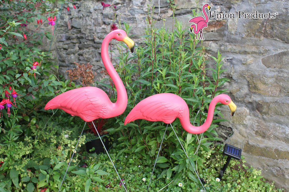 Pair New Genuine Don Featherstone Pink Plastic Flamingo S Lawn Garden Ornament