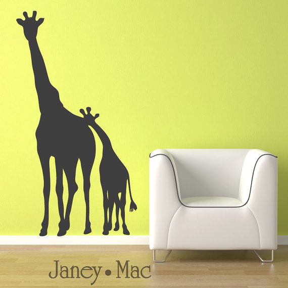 Childrens Giraffe Wall Decal - Mom and Baby Kids Bedroom Nursery ...