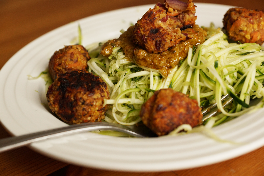 Vegan Meat Balls and Zoodles