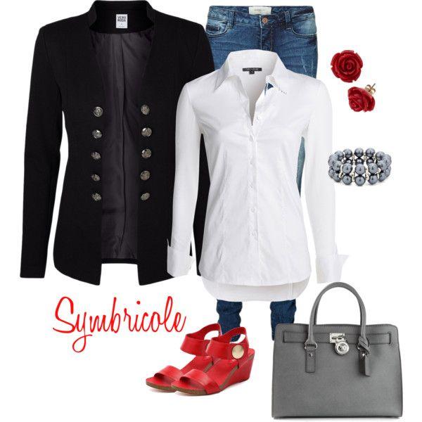 """Blanc noir gris rouge"" by symbricole on Polyvore"