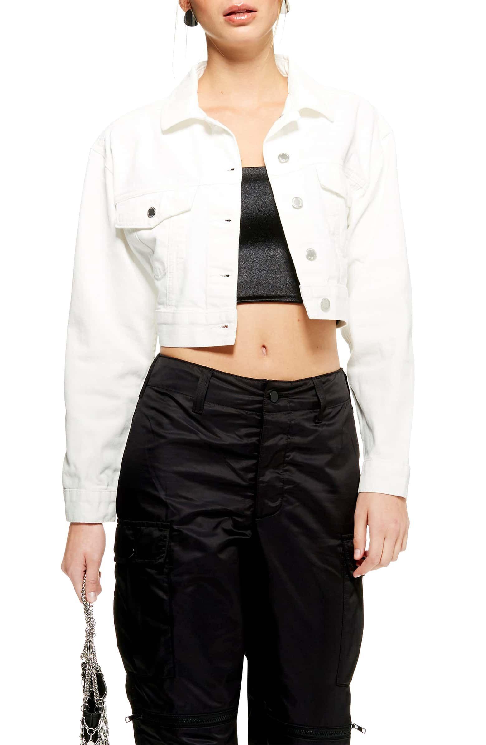 Classic Crop Denim Jacket Main Color White Cropped Denim Jacket Cropped Denim Jacket Women Denim Jacket Women