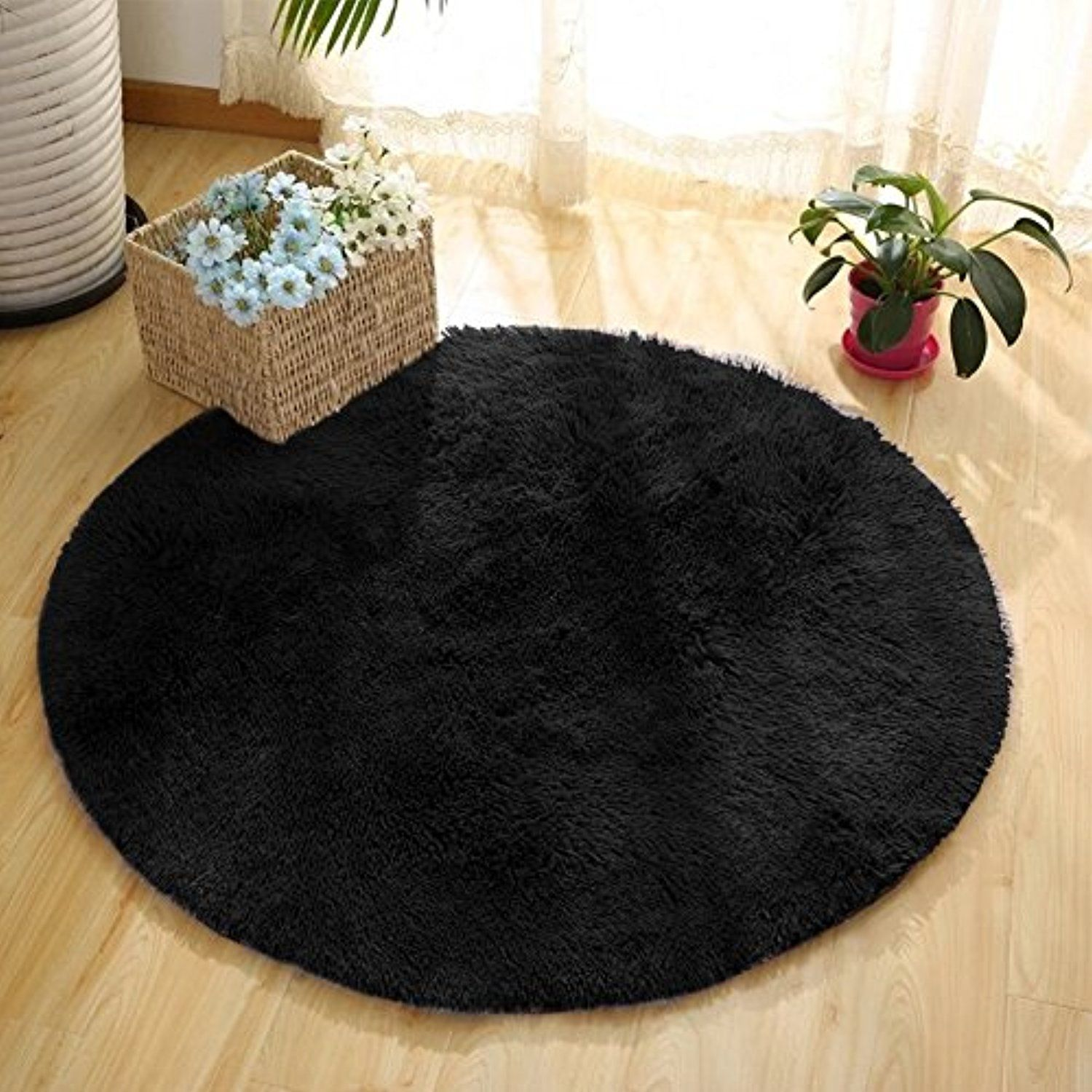 Yj Gwl Ultra Soft Round Area Rugs For Bedroom Anti Slip Shaggy