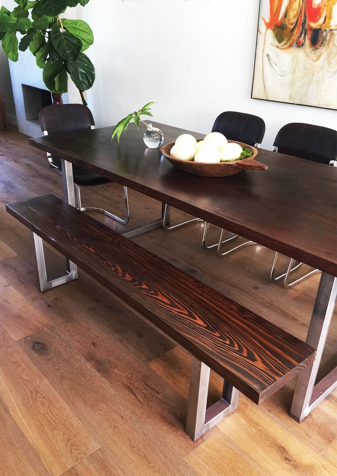 Diy Modern Dining Table And Modern Bench Dining Table With