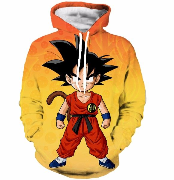 Cute Young Kid Goku Yellow Orange Dragon Ball 3d Hoodie Fellow Tees Anime Hoodie Kid Goku Anime Sweatshirt