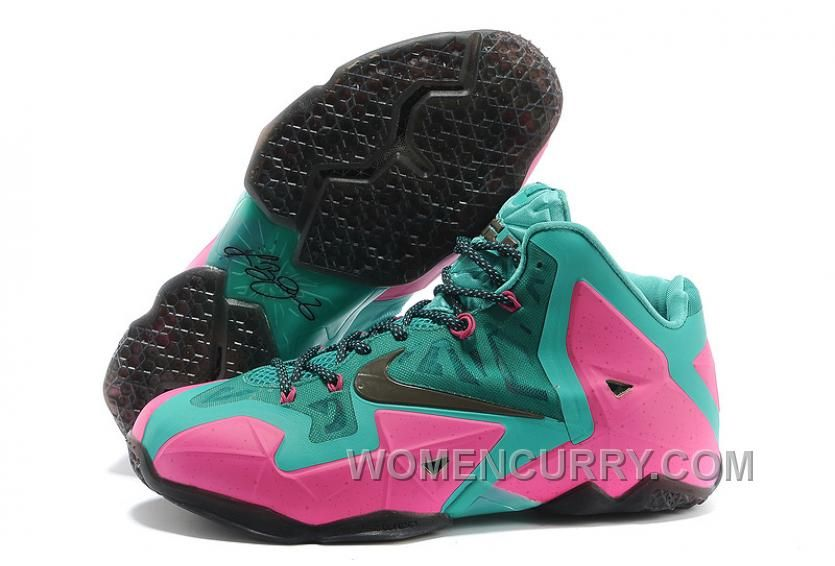 Nike LeBron James 11 Pink New Green-Black For Sale Authentic A5QzcM ... e06861a0a