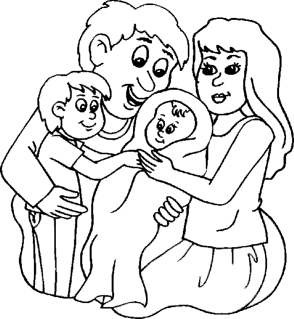 Baby With Family Coloring For Kids Baby Coloring Pages Kidsdrawing Free Coloring Pages Onlin Family Coloring Pages Baby Coloring Pages Mom Coloring Pages