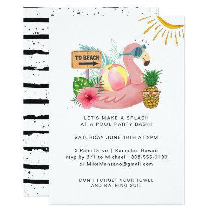 Watercolor Summer Pool Party Invitation   Zazzle.com