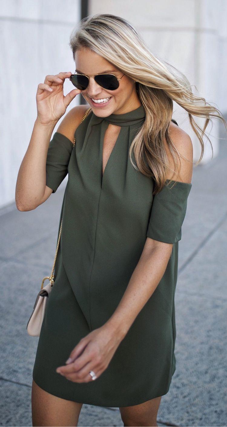 Olive green cold shoulder dress.  49c2b4778400