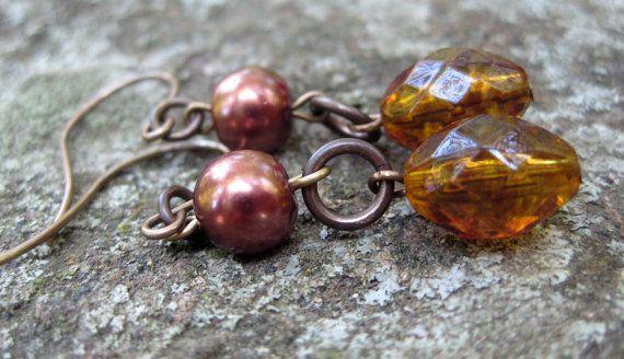 Beaded Amber Earrings Pearl Earrings by TinyYellowKeyDesigns, $18.00