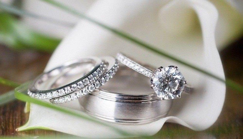 14K White Gold Over Round Cut Diamond His /& Her Engagement Wedding Trio Ring Set