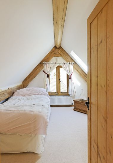 The fifth bedroom with vaulted ceiling that extends out from the ...