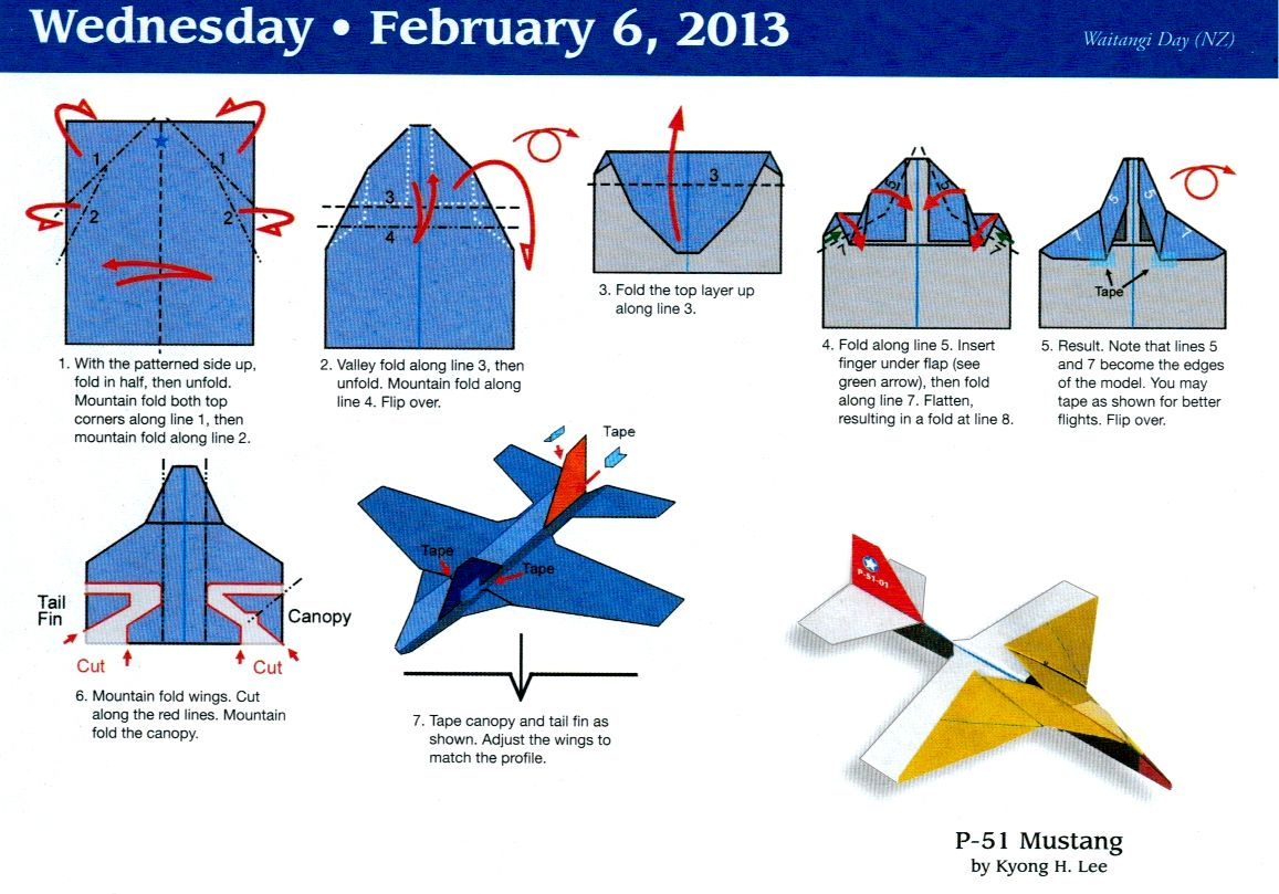 Mustang Plane Origami For Jimmer Paper Airplane Calendar