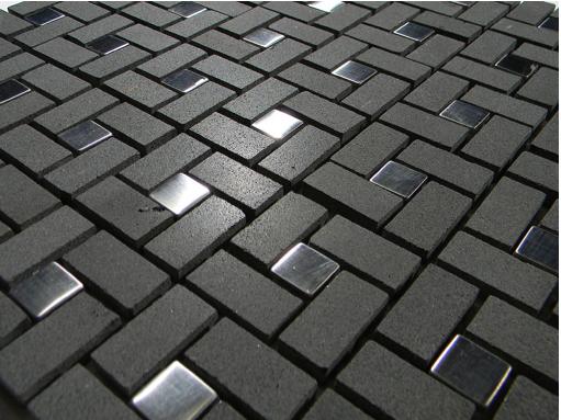 Black Basalt Pinwheel Pattern With Silver Metal Tile Dots