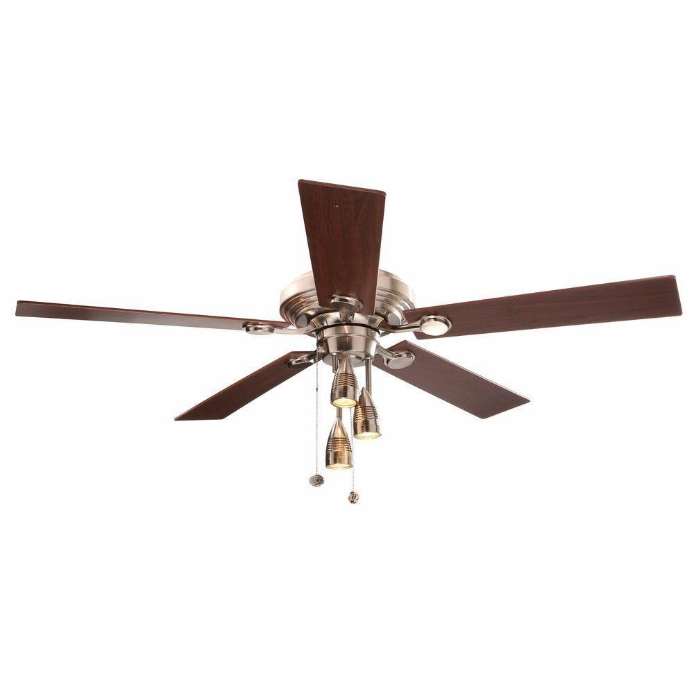 Hampton Bay Irondale 52 In Brushed Nickel Ceiling Fan With Spot Light Kit Hamptonbay Contempor Brushed Nickel Ceiling Fan Ceiling Fan With Light Ceiling Fan