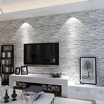 Modern Grey Brick Wallpaper Living Room Ideas