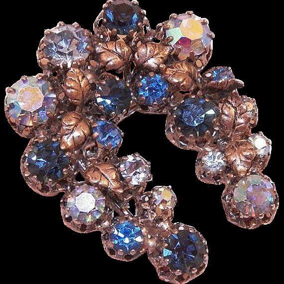 Vintage 30s STAR STARET Sapphire Blue Aurora Borealis Rhinestone Horseshoe Shaped Brooch Pin