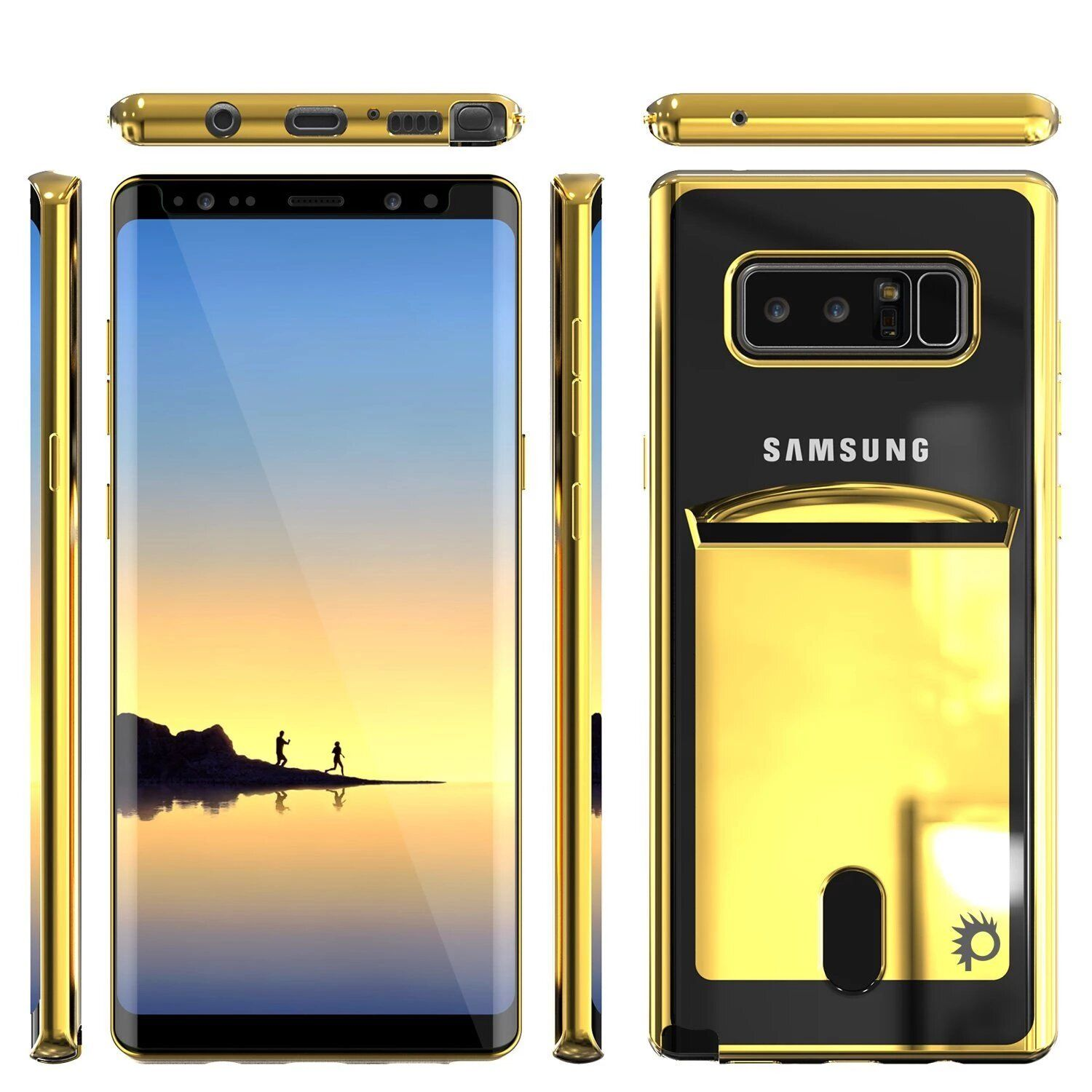 Galaxy Note 8 Case Punkcase Lucid Gold Series Card Slot Shield Screen Protector Ultra Fit Galaxy Note 8 Screen Protector Samsung Galaxy Note 8