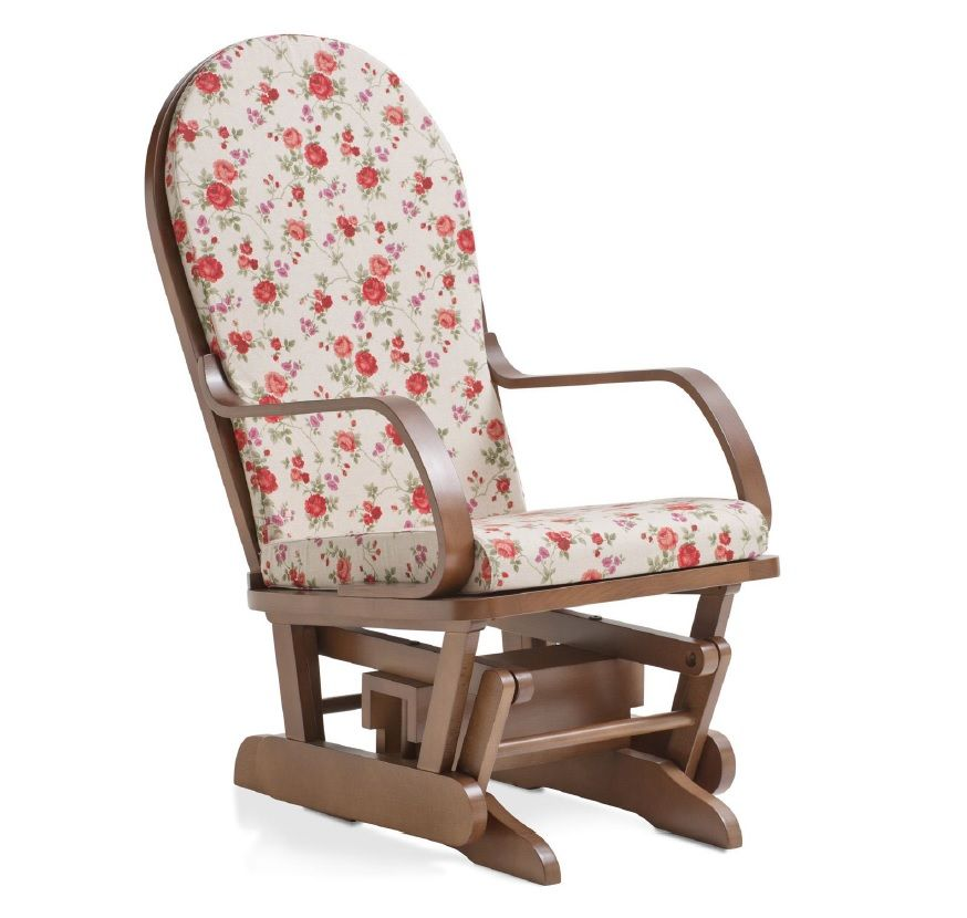 Sedia a dondolo basculante in legno massiccio cuscini for Sedia a dondolo nursery