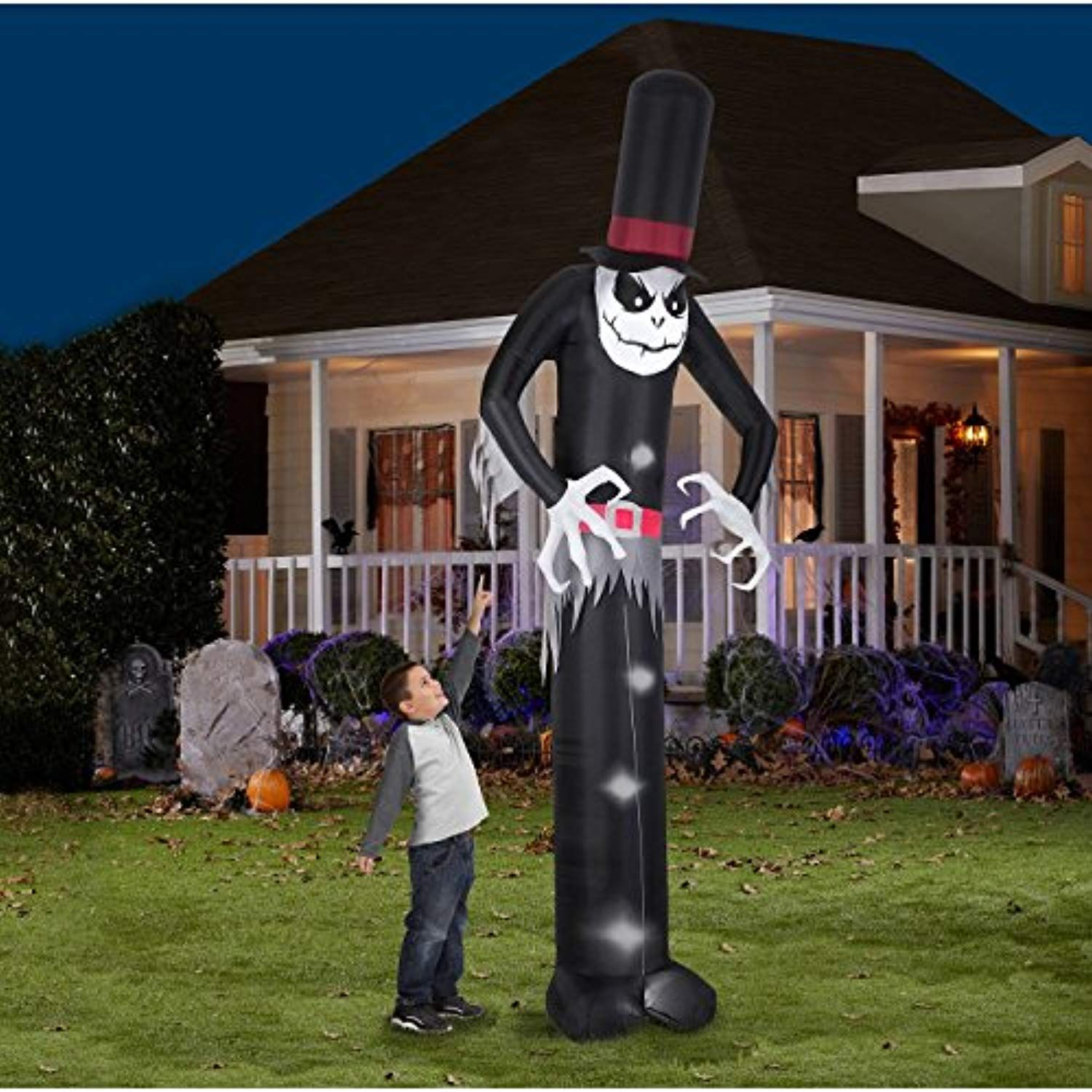 Gemmy Airblown Inflatable Mr Skeleton Wearing Top Hat Indoor Outdoor Holiday Halloween Yard Decorations Outdoor Holiday Decor Halloween Outdoor Decorations