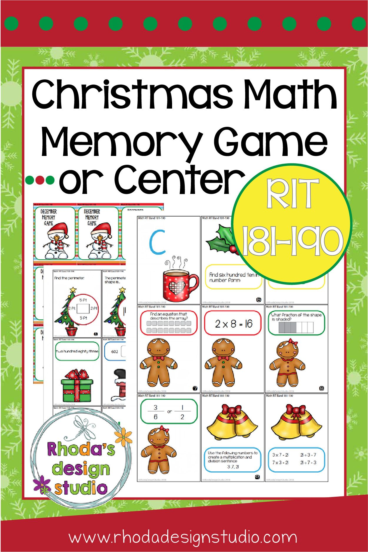 Christmas Games Math Rit 181 190 Memory Game And Worksheet