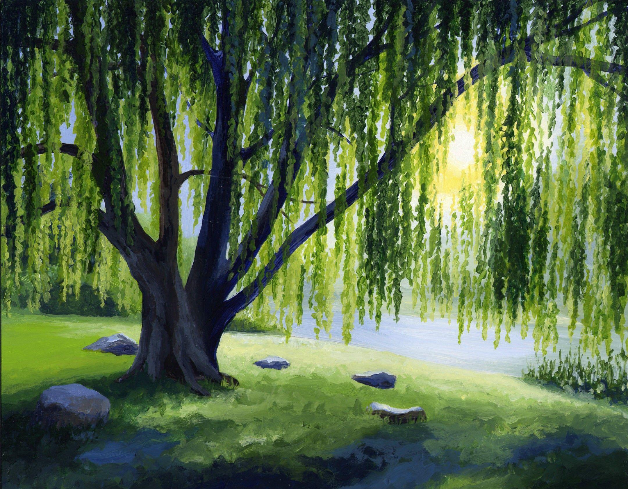 Idee Quadri Da Dipingere : Weeping willow art paesaggio astratto dipingere e