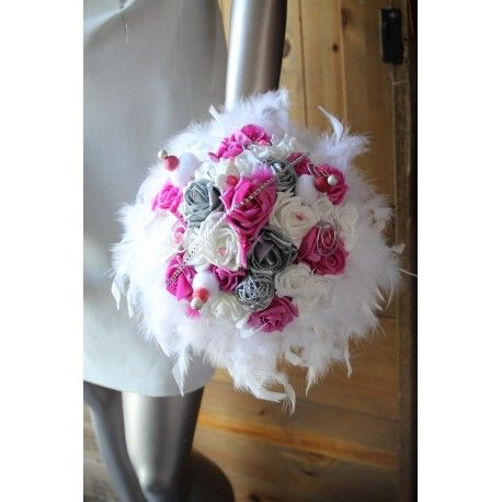 Bouquet Mariée Blanc, Fuchsia, Argent, Strass, Plumes et bonbons