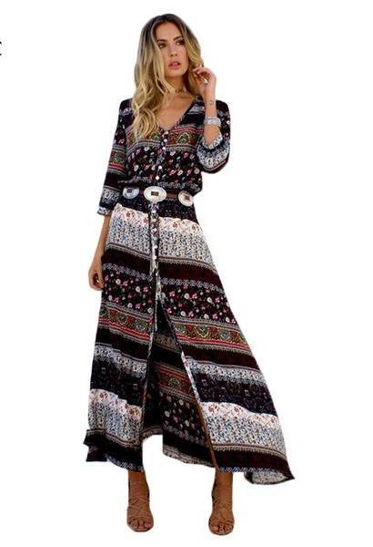 ce07f8e1640 Women Beach Boho Maxi Dress 2017 Summer High Quality Brand V-neck Print  Vintage Long Dresses Feminine Plus Size Weljuber