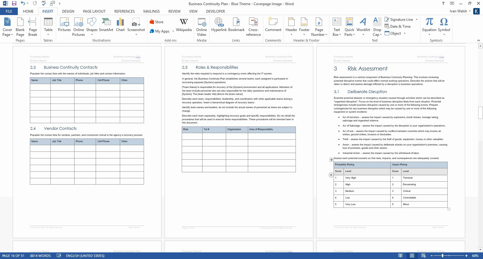 Business Risk assessment Template in 2020 Business