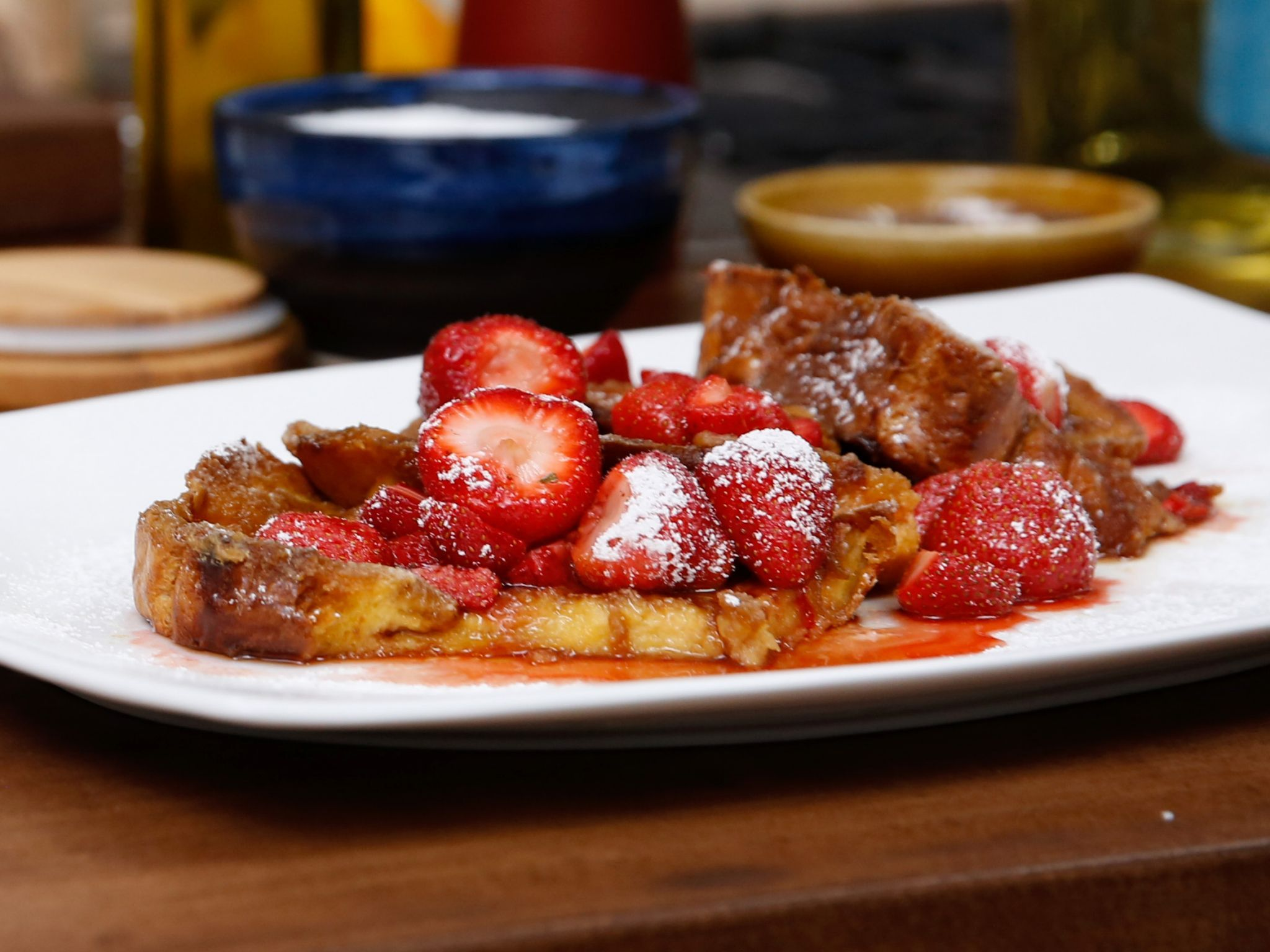 Creme Brulee French Toast with Drunken Strawberries