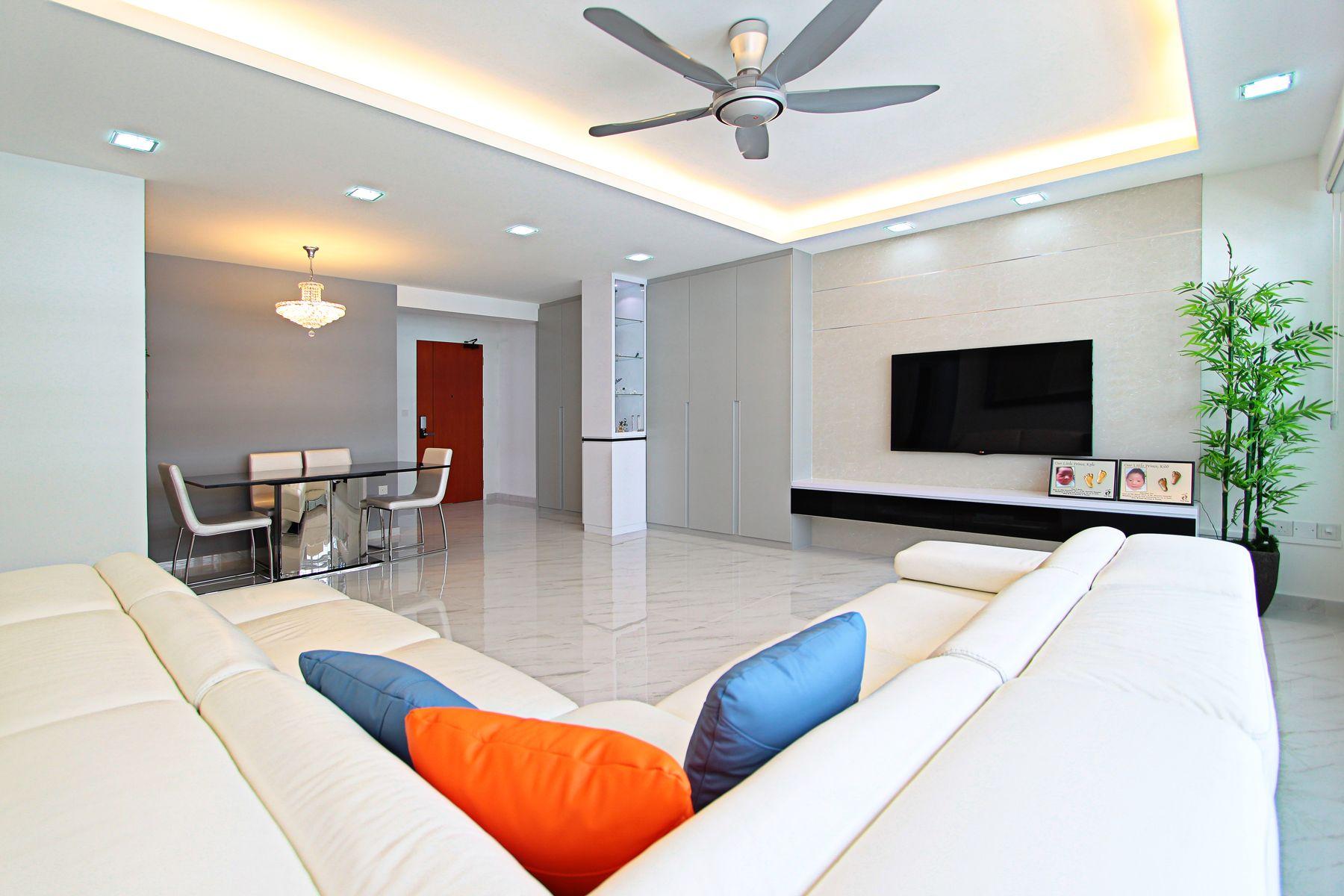 Punggol Walk Simple Living Room Interior Design Kitchen Room