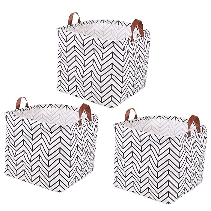 Amazon Com Kingrol 3 Pack Waterproof Storage Baskets With Handles 12 X 12 X 12 Inch Storage Bins For Home O In 2020 Storage Baskets Waterproof Storage Storage Bins