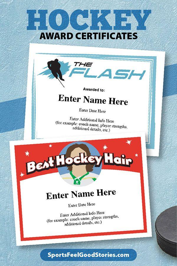 hockey certificates certificate templates award awards sportsfeelgoodstories editable flash