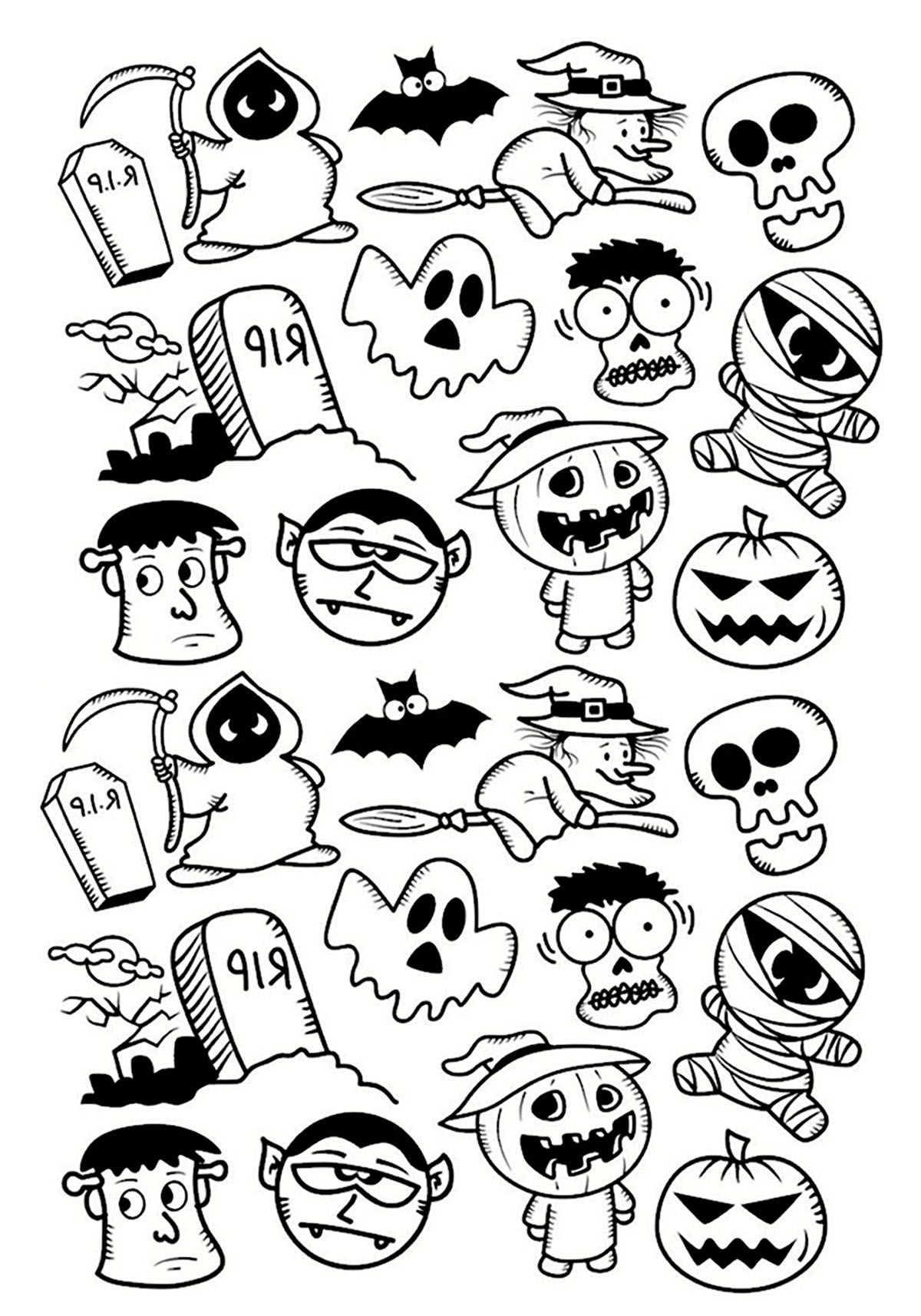 Halloween doodle characters Halloween Coloring Pages for