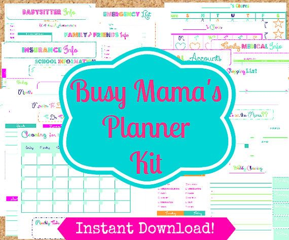 INSTANT Download Mom Planner- 24 Editable Pdf Documents