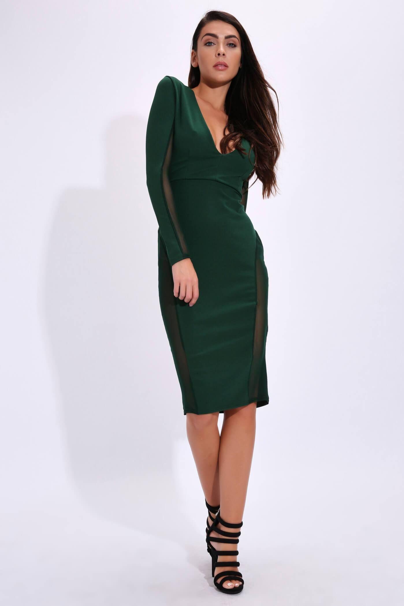dark green plunge dress