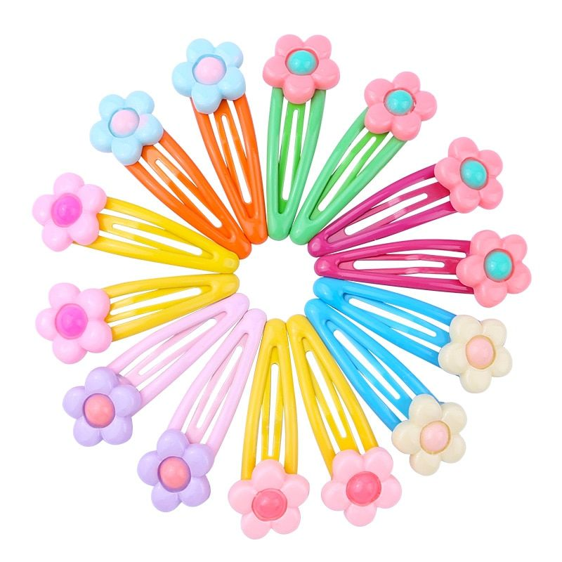 Colorful Flower Print Snap Hair Clips Set For Children Girls Baby Women Hair Accessories Cute Color Metal Barrette Hair Pins Hair Accessories For Women Flower Prints Colorful Flowers