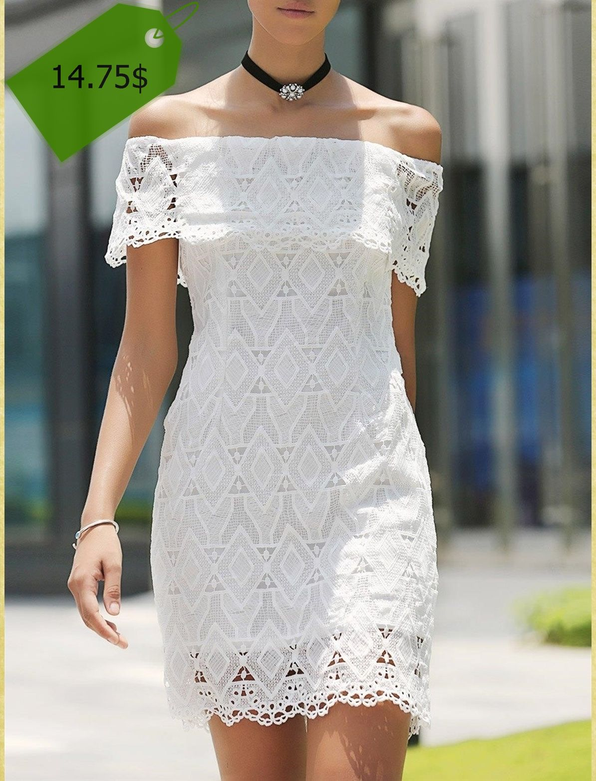 Lace dress styles for funeral  Fashionable Short Sleeve Off The Shoulder Lace Dress For Women