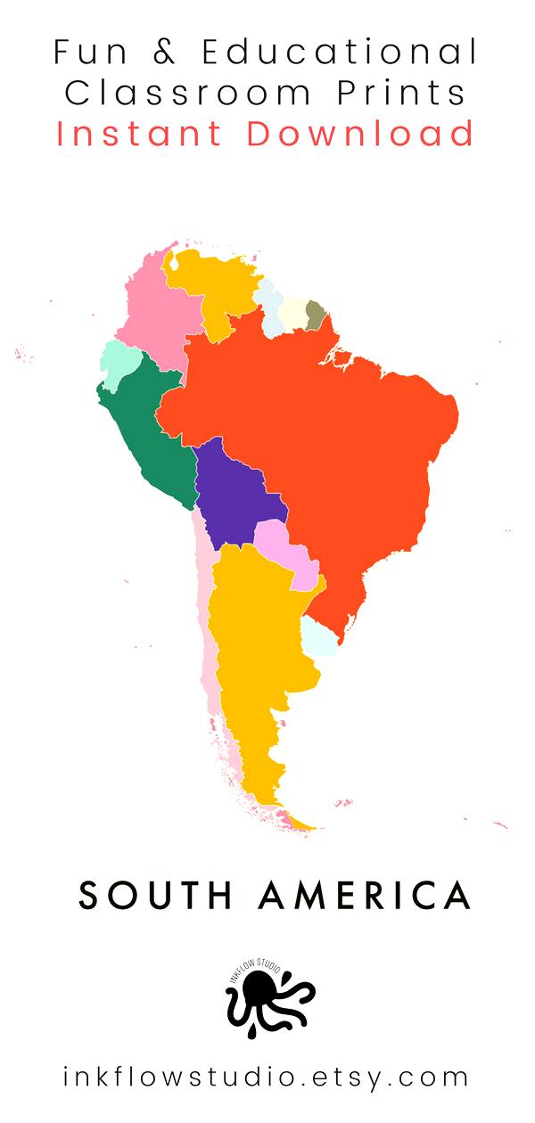 South America City Southamericatravelbudget South America Travel Guide South America Videos Color Southamericat In 2020 South America Map Map Print World Map