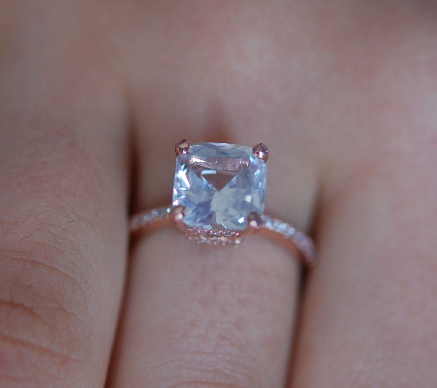 White Sapphire Engagement Ring Asscher Cut Square 14k Rose Gold