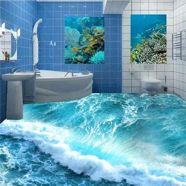 Floor Wallpaper Bathroom Floors 3d Sea Beach Floor 3d Mural Pvc Wallpaper Suelos Floor Wallpaper Floor Murals Bathroom Wallpaper