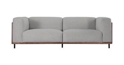 Edvin 3 Seater Fabric Mid Century Modern Sofa Grey Modern Grey