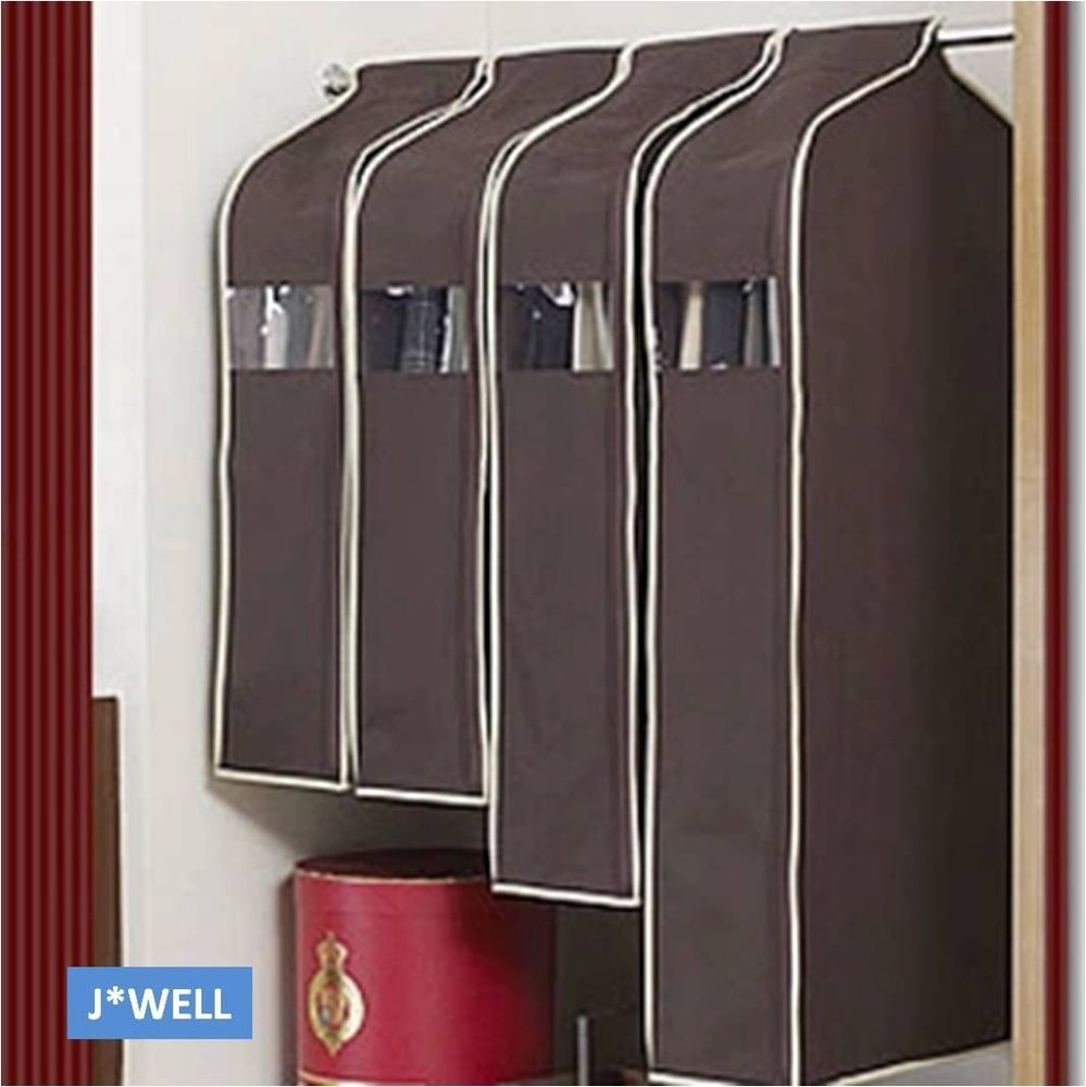 Details About Wardrobe Hanging Suit Overcoat Dust Cover Clothing Garment Storage Bag Organizer