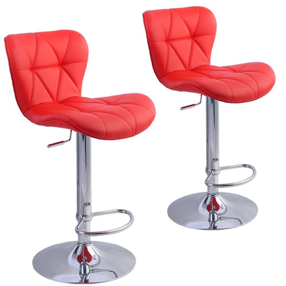 2 Pc Factory Bar Stool Pu Leather Barstools Chairs Adjustable