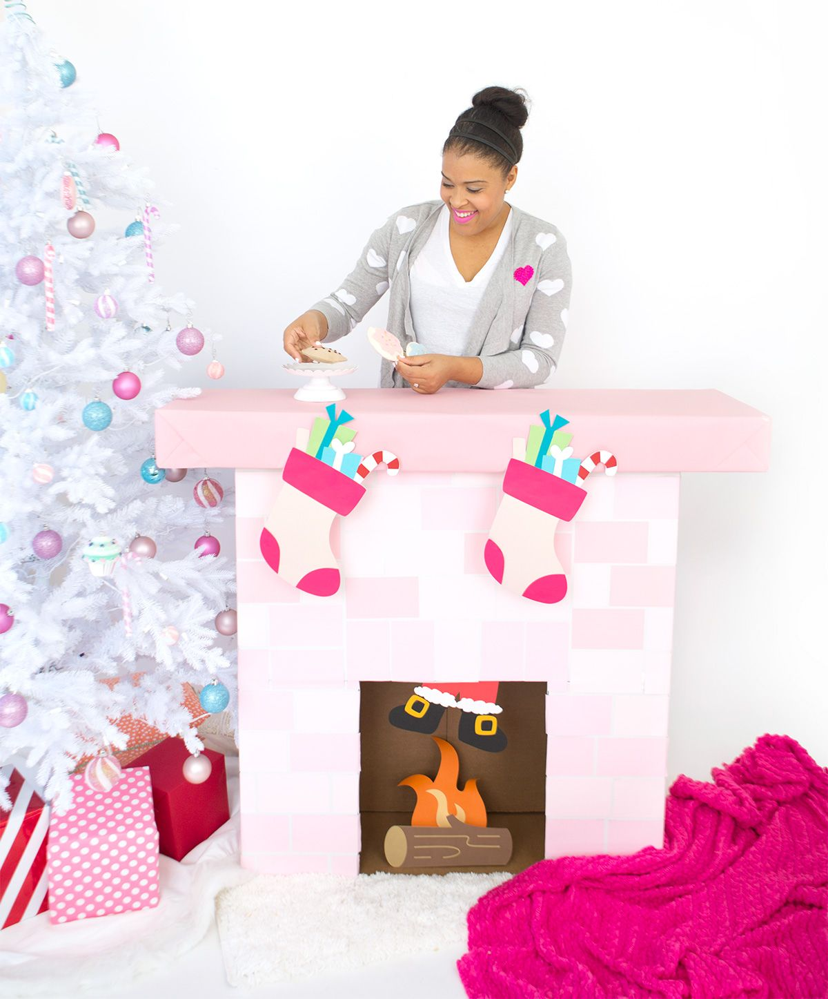 DIY Cardboard Box Fireplace damask love Christmas Pinterest