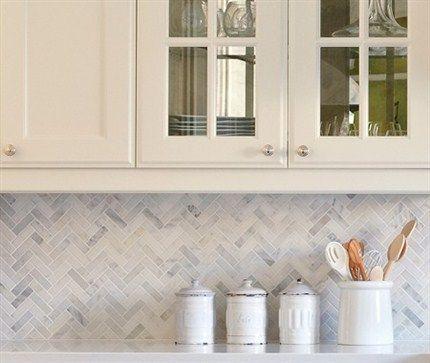 Carrera Marble Herringbone Backsplash Tile Herringbone Kitchen