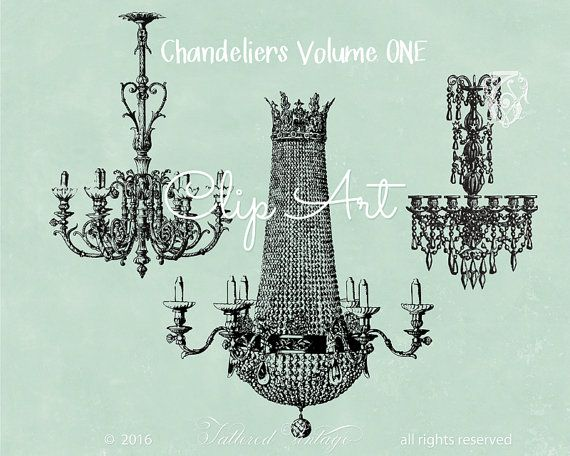 Antique French Chandelier Clipart Crystal By Tatteredvintage