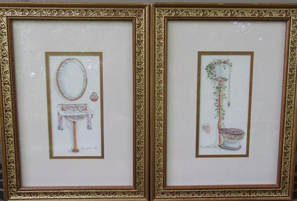 2 Peggy Abrams Framed Bathroom Prints 15 X 11 X 75 Fashion Home Garden Homedcor Postersprints Ebay Link Bathroom Prints Poster Prints Toilet Art